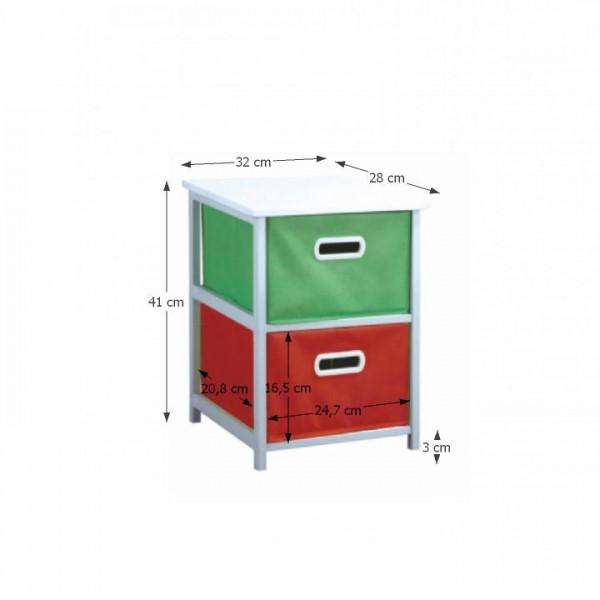 TEMPO KONDELA Viacúčelová komoda s úložnými boxami z látky, biely rám/farebné boxy, COLOR 97