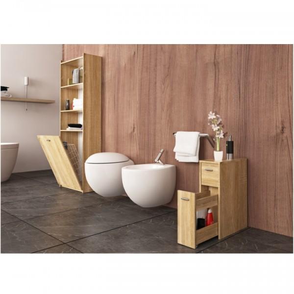 TEMPO KONDELA Kúpeľňová skrinka s košom na bielizeň, dub sonoma, NATALI TYP 8