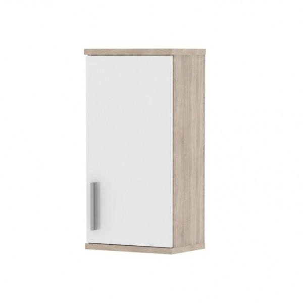 TEMPO KONDELA Horná kúpeľňová skrinka, biela pololesk/dub sonoma, LESSY LI 04