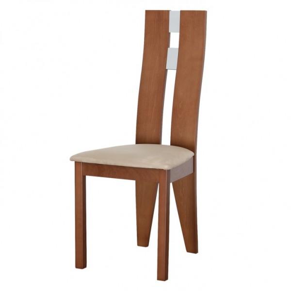 TEMPO KONDELA Drevená stolička, čerešňa/látka béžová, BONA