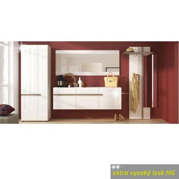 Vešiakový panel so zrkadlom, biela, LYNATET TYP 115