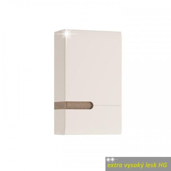 Horná skrinka 1D, biela extra vysoký lesk HG/dub sonoma truflový, pravá, LYNATET TYP 157