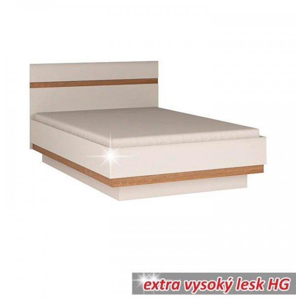 TEMPO KONDELA Posteľ 140, biela extra vysoký lesk HG/dub sonoma tmavý truflový, LYNATET TYP 91