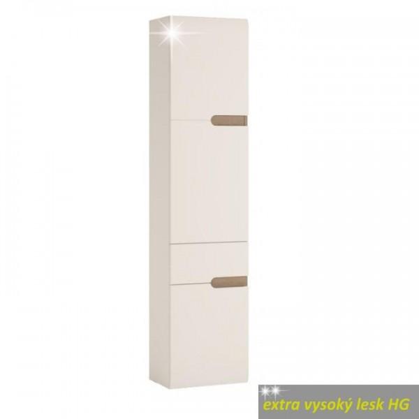 Policová skrinka, biela extra vysoký lesk HG/dub sonoma truflový, ľavá, LYNATET TYP 155