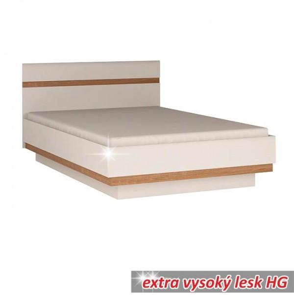 Posteľ 160, biela extra vysoký lesk HG/dub sonoma tmavý truflový, LYNATET TYP 92