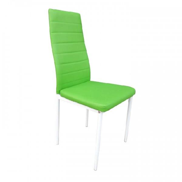 Stolička, ekokoža zelená/kov biela, COLETA NOVA