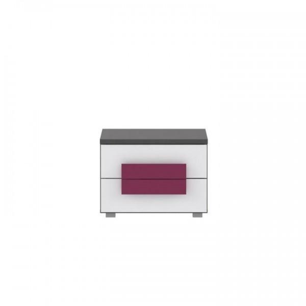 TEMPO KONDELA Nočný stolík, sivá/biela/fialová, LOBETE 02