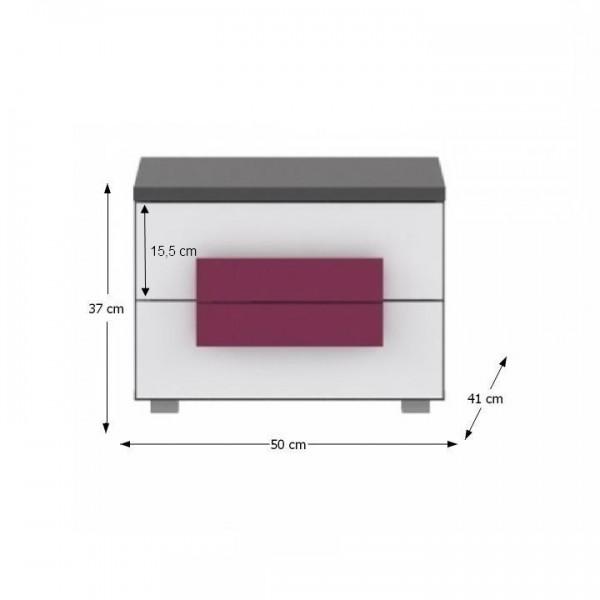 Nočný stolík, sivá/biela/fialová, LOBETE 02