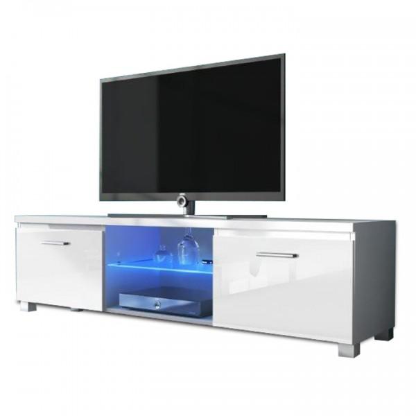 TEMPO KONDELA RTV stolík, biela/biela extra vysoký lesk HG, LUGO 2