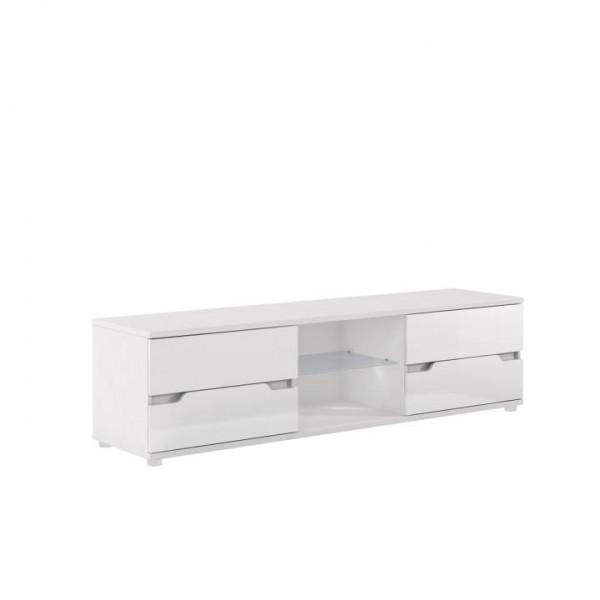 TEMPO KONDELA RTV stolík, biela/biela s extra vysokým leskom, ADONIS AS 30