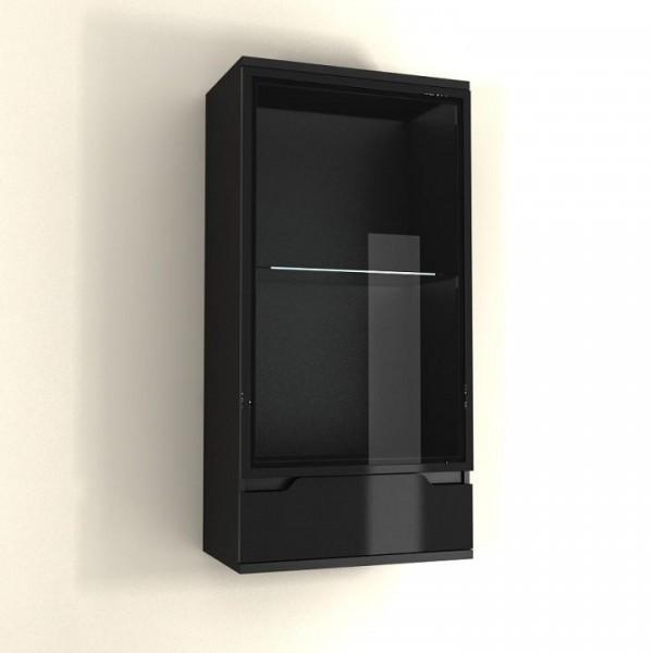 Závesná vitrína, čierna/čierna s extra vysokým leskom, ADONIS AS 08
