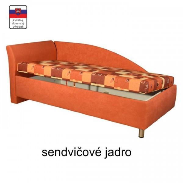 Váľanda s úložným priestorom, ľavá, sendvičová, 90x200 cm, PERLA