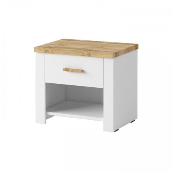 Nočný stolík (2ks), biela/dub wotan, ANICEA