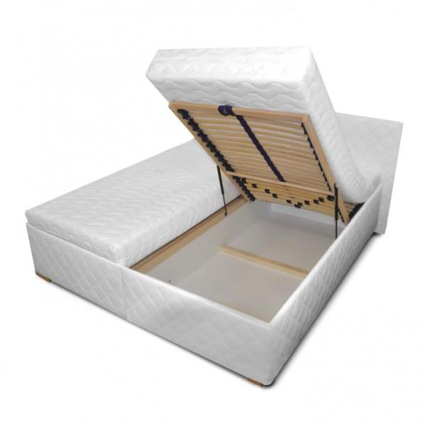 Manželská posteľ s úložným priestorom, biela, 180x200, VENEZIA LUX