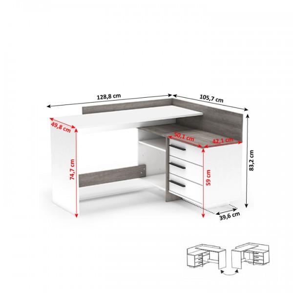 Univerzálny PC stôl, rohový, biela/dub trufel prata, TALE NEW