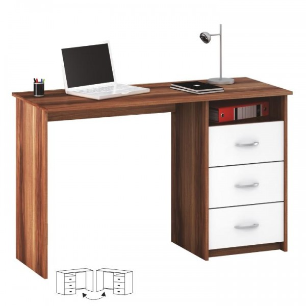 PC stôl, slivka/biela, LARISTOTE