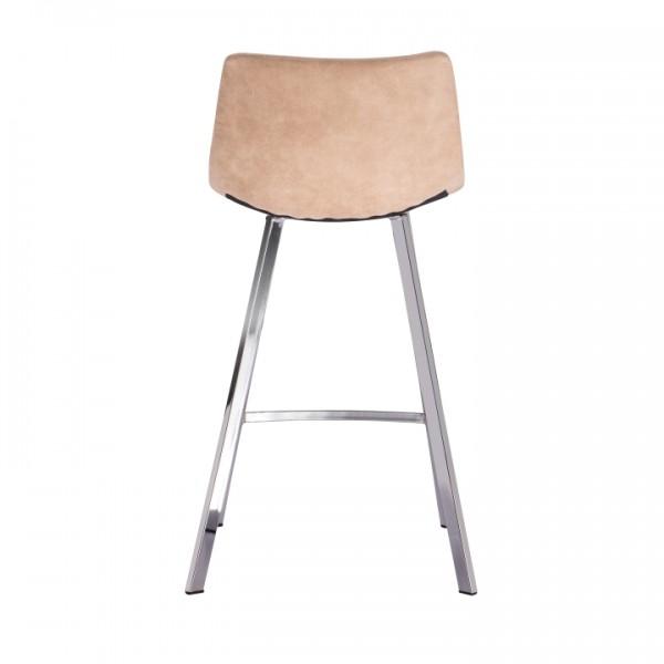 Barová stolička, béžová látka s efektom brúsenej kože, DERON