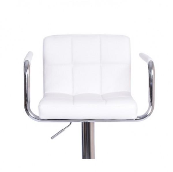 Barová stolička, biela ekokoža/chróm, LEORA New