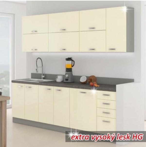 Kuchynská linka, krémová extra vysoký lesk/sivá, PRADO