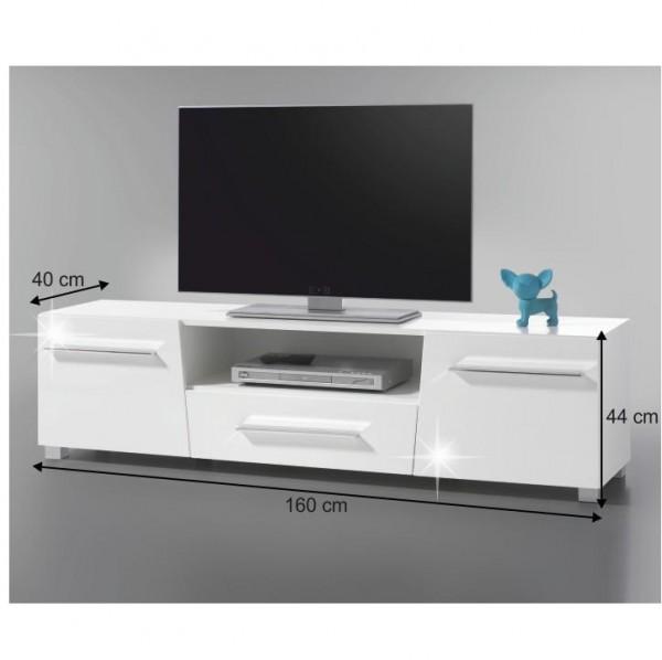 RTV stolík, biela s extra vysokým leskom HG, STRAGY TYP 6