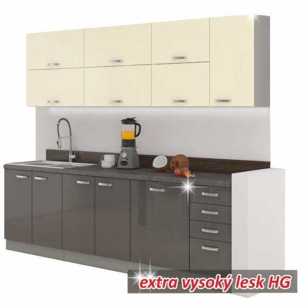 TEMPO KONDELA Kuchynská linka, sivá/kremová, extra vysoký lesk, PRADO