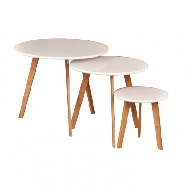 Set 3 konferenčných stolíkov, MDF biela/prírodný bambus, BAROS