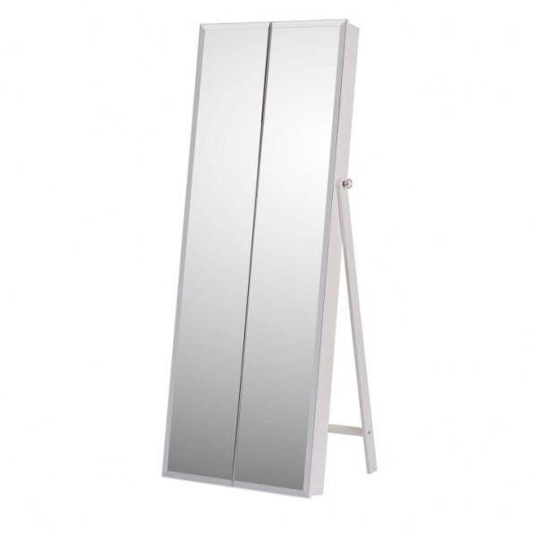 Zrkadlo s úložným priestorom na bižutériu, biela, ONEON