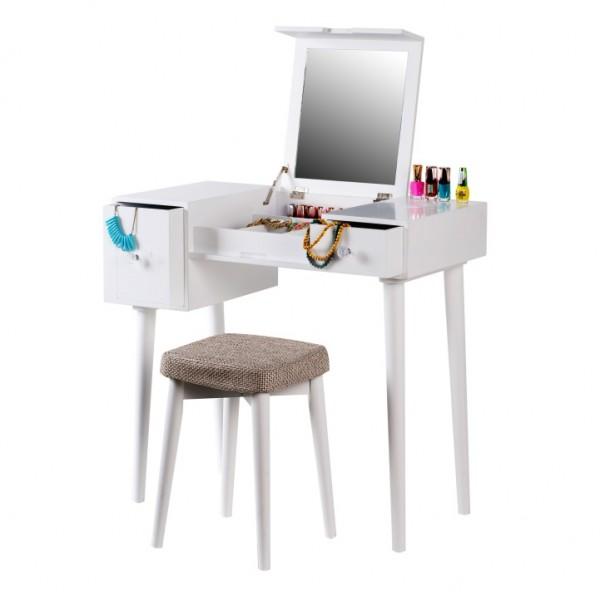 TEMPO KONDELA Toaletný stolík, toaletka, biela/hnedá, MARVEL
