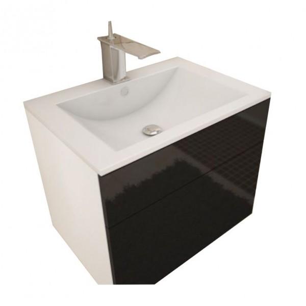 TEMPO KONDELA Skrinka pod umývadlo, biela/čierna extra vysoký lesk HG, MASON BL13