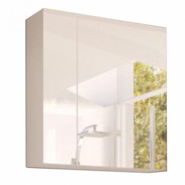 Skrinka so zrkadlom, biela/biely extra vysoký lesk HG, MASON WH14