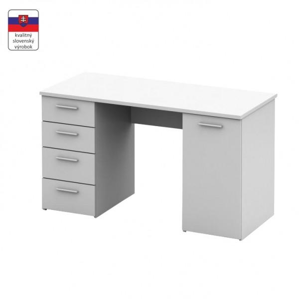 TEMPO KONDELA Písací stôl, biela, EUSTACH