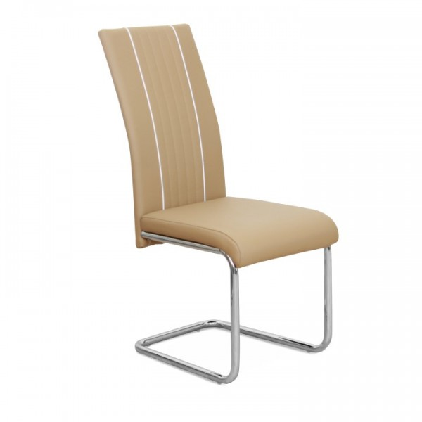 Jedálenská stolička, ekokoža béžová/biela/chróm, LESANA