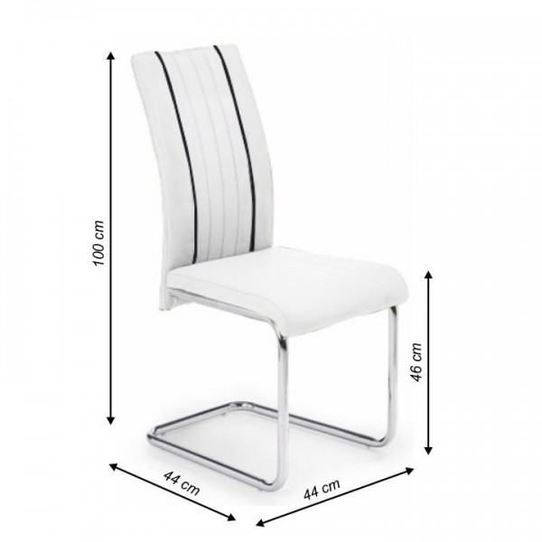 Jedálenská stolička, ekokoža biela/čierna/chróm, LESANA