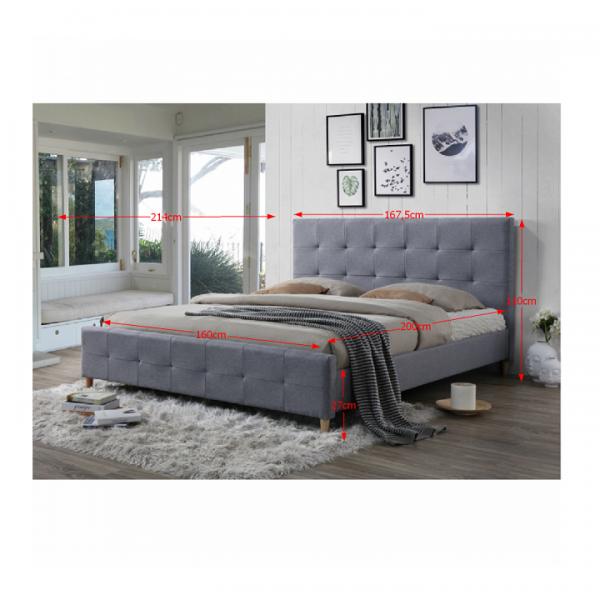 Manželská posteľ, sivá, 160x200, BALDER NEW