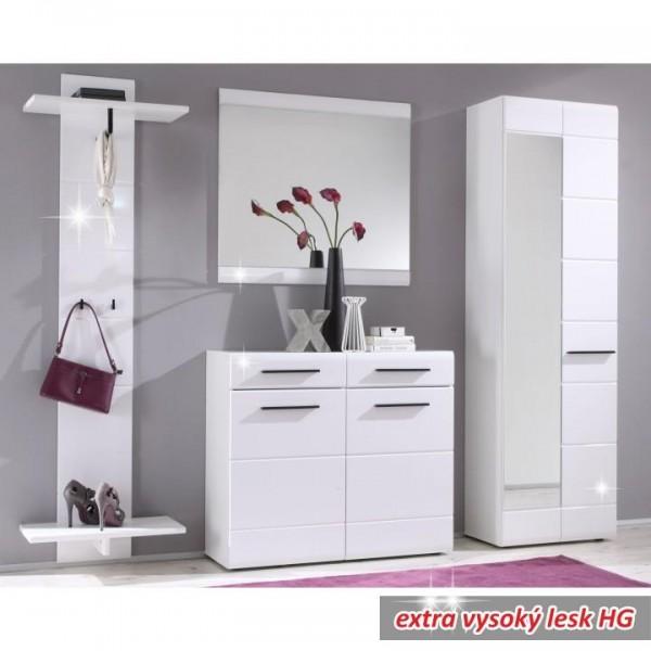 Vešiakový panel, biela/biela extra vysoký lesk, DERBY-17