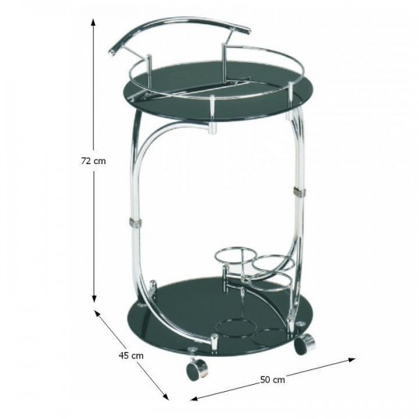 TEMPO KONDELA Servírovací stolík, čierne sklo/chróm, VESNA