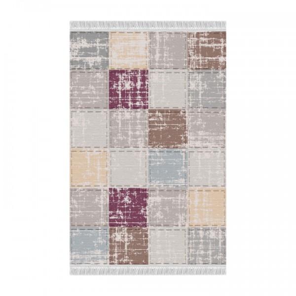 Koberec, hnedá/sivá/bordová/vzor štvorec, 160x230, FIRBI