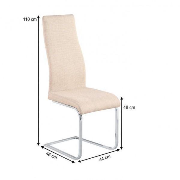 Jedálenská stolička, látka béžová/chróm, AMINA