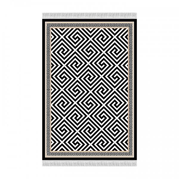 TEMPO KONDELA Koberec, čierno-biely vzor, 80x200, MOTIVE
