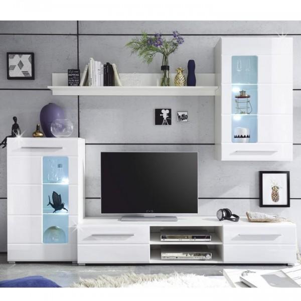 TEMPO KONDELA Obývacia stena, biela extra vysoký lesk high gloss/biela, HENRI