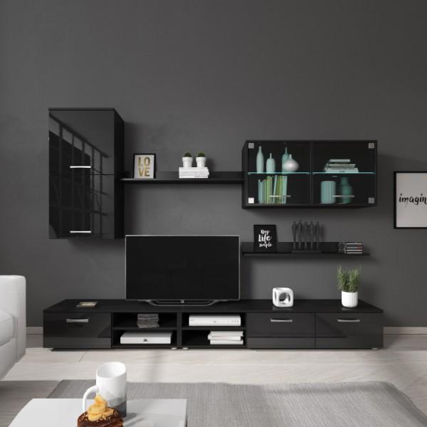 TEMPO KONDELA Obývacia stena, čierna/čierny lesk, KLARENA