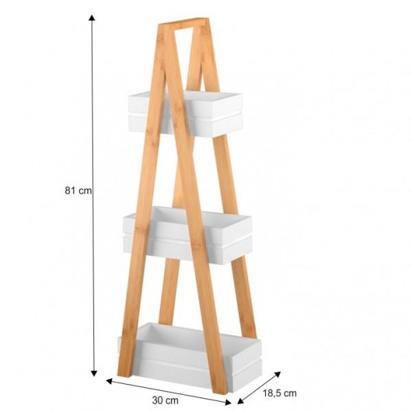 Regál, bambus/biela, VEGO