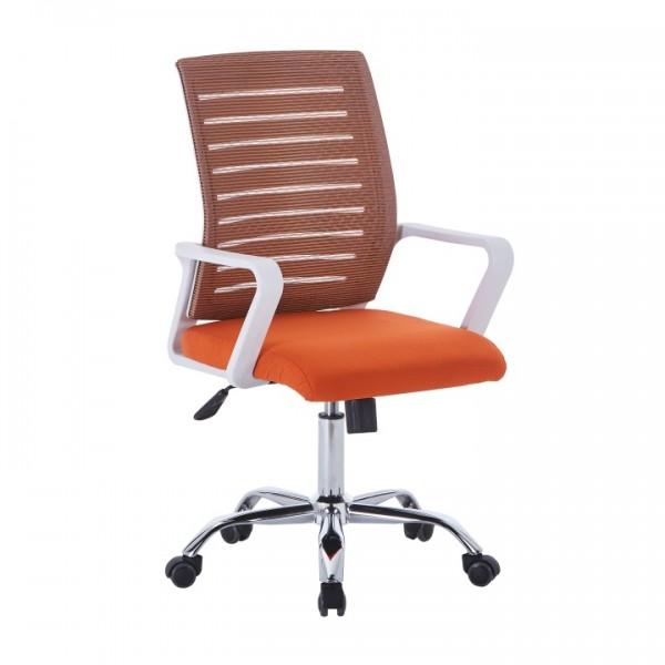 TEMPO KONDELA Kancelárske kreslo, biela/oranžová, CAGE