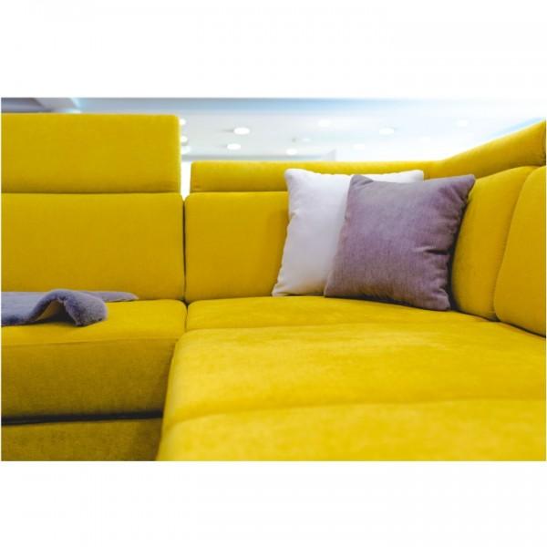 Luxusná sedacia súprava, žltá/hnedé vankúšiky, pravá, MARIETA U