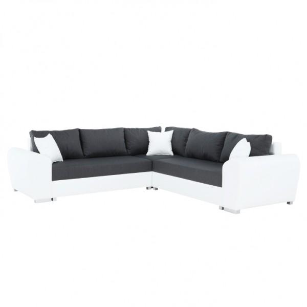TEMPO KONDELA Rohová sedacia súprava, biela/tmavosivá, ľavá, BERYL