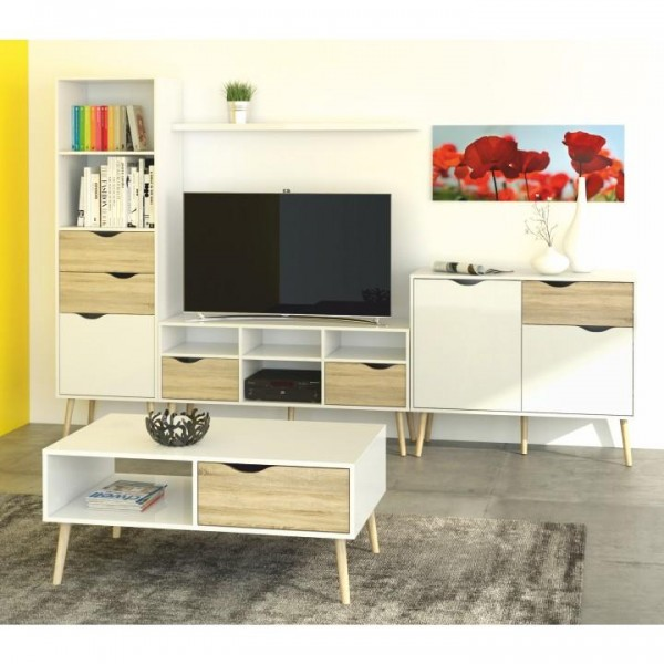 Konferenčný stolík, dub sonoma/biela, OSLO 75384