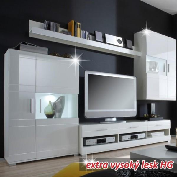 TEMPO KONDELA Obývacia stena, biela s extra vysokým leskom HG, LIGHT