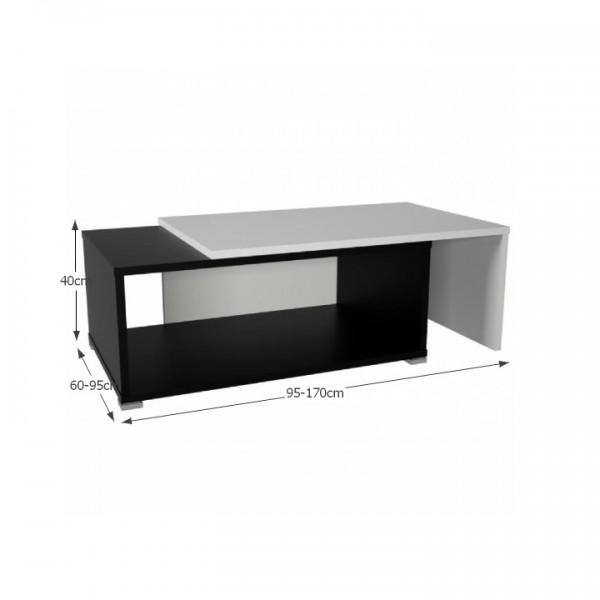 TEMPO KONDELA Konferenčný rozkladací stolík, čierna/biela, DRON