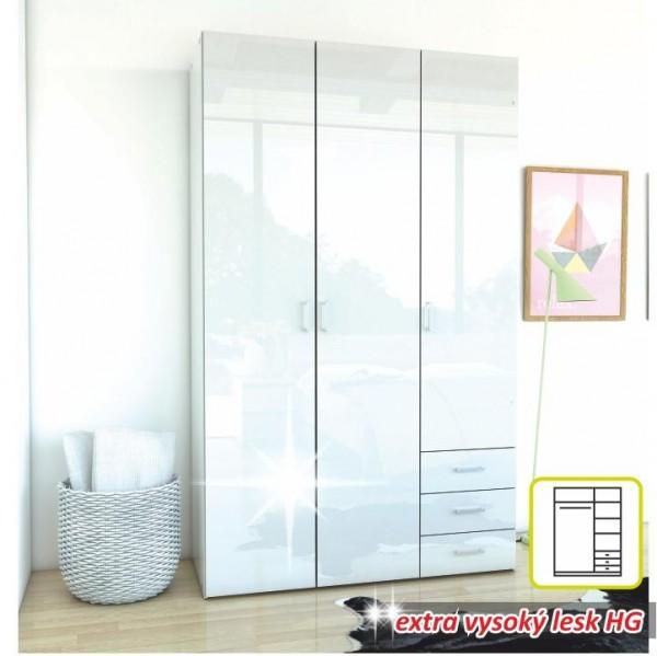 TEMPO KONDELA Skriňa, 3 - dverová, biela extra vysoký lesk HG, GWEN 70427
