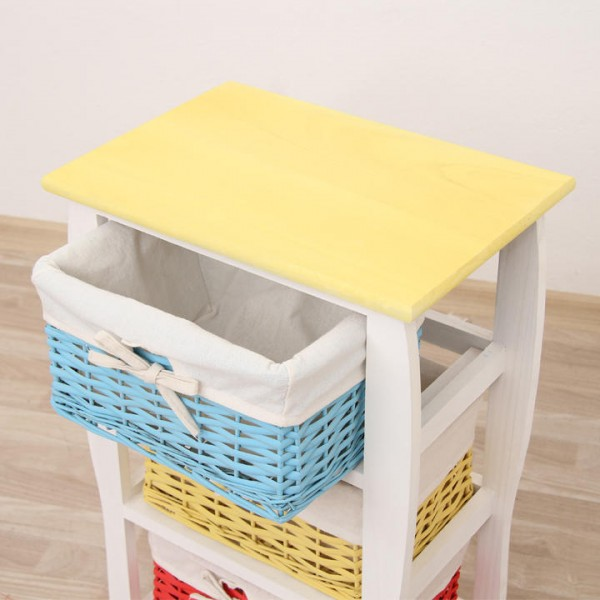 TEMPO KONDELA Komoda, s troma košíkmi, biela / modrá / žltá, NIELS 3